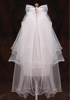 Wholesale Stocking Net Flowers - In Stock White Short Flower Girl Veils With Bow Satin Edge Kids Children Bridal Veils Voile De Mariee Head Veils
