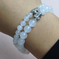 Wholesale Men Bracelet Jade - SN0439 Top Newest White Jade Bracelet Men Elephant Charms Stretch Bracelet Buddha Bracelet Set Mala Jewelry