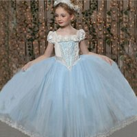 vestido de cenicienta 3t al por mayor-Nueva Cinderella Kids Dress Retail Princess Girl Dress Con capa de boda Para Cinderella Cosplay Disfraz Chica Fancy Dresses