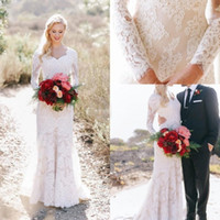 Wholesale Sweetheart Lace Column Wedding Dress - Full Lace Western Country Wedding Dresses 2018 Long Sleeves Appliques Sheath Sweep Train Bohemian Vintage Bridal Gowns Vestidos De Noiva