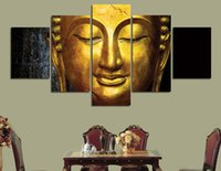 Wholesale buddha paintings free resale online - 5 Set Framed Printed The golden Buddha Painting Canvas Print room decor print poster picture canvas ny