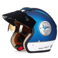 Wholesale Vintage Scooter Helmet Xl - Fashion For halley ZEUS 381C 3 4 helmet vintage motorcycle helmet retro Moto Casco scooter capacete open face helmet DOT