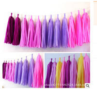 """Wholesale Tissue Paper Garland Wholesale - Wholesale-50pcs 35cm"""" tissue paper tassel garlands wedding & event party decoration baby shower wooden bridal showers decoration"""