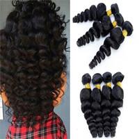 "Wholesale Mix Length Weaves - Brazilian Loose Wave 3Pcs Hair Weave 10""-24"" Mix Length Human Hair Extensions Brazilian Loose Wave Bundles Black Unprocessed Virgin Hair"
