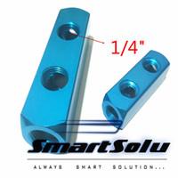 "Wholesale Pneumatic Quick Fittings - 5PCS 1 4"" 2 hole BSP Pneumatic Aluminum Air Fitting Multi Connector Manifold Hose Quick Coupler Plug hole Socket"