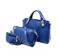 Wholesale tote purses wholesale - New Arrival 3pcs Set Women Totes Bags Fashion Classic Alligator PU Leather Designer Handbags Lady's Shoulder Bags And Purse