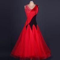 Wholesale Salomon Red - Ballroom Dance Dress Lady Women Tassel Beeds Tulle Salomon Flamenco Vestidos Training Performance Tango Dress Ballroom Competition Dress