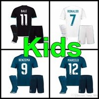 Wholesale Kids School Kit - 2017 2018 kids Kits + socks Real Madrid Soccer Jersey Primary school students Ronaldo Bale uniforms SERGIO RAMOS ISCO Away Football Shirts