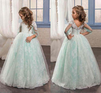Wholesale Cute Beautiful Images - New Cute Mint Sage Floral Lace 2017 Flower Girl Dresses Long Sleeves Beaded Child Dresses Beautiful Long Flower Girls Wedding Party Dresses