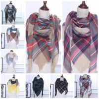 Wholesale Triangle Cashmere Scarves - 140*140*198 Warm Triangle Tartan Blanket Scarf Shawl Wrap Oversized Check Shawl Tartan Cashmere Scarf Winter Neckerchief KKA2711