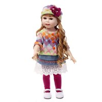 Wholesale 11 Inch Baby Figure - 18 Inch Silicone Reborn Doll American Girl Dressup Dress Cute Princess Baby Doll Dressing Play House Hot Toys