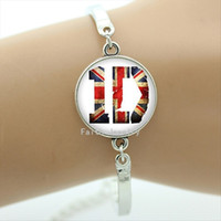 Wholesale One Direction Picture - Steampunk One direction ID bracelet vintage USA flag decorate ID character picture bracelets glass cabochon dome jewelry BA017
