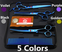 "Wholesale Dog Grooming Thinning Scissors - #683 7"" High Quality Blue Pet Grooming Hair Scissors Set,Cat Dog Fur Clipper Shears,1 Straight + 1 curved + 1 Thinning + 1 Comb"