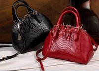 Wholesale Patterns Hand Fashion Bags - Fashion women hand bags genuine leather crocodile pattern shell bags European and American style gifts for her