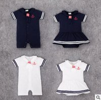 Wholesale Infant Sailor Dresses - Sailor Baby Onesies 2016 Summer Boys and Girls Body Bebe Striped Crew Baby Rompers Cotton Short Sleeve Baby Dress Toddle Infant Jumpsuit 347