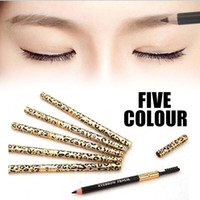 Wholesale Cheap Makeup Brushes Free Shipping - Cheap Waterproof Make Up Leopard Longlasting Eyeliner Eyebrow Eye Brow Pencil & Brush Makeup Make Up Tool 5 Colors Free Shipping