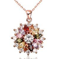 Wholesale Sun Flower Charm Necklaces - 2016 Hot Sale Rose Gold Shining Sun Flower Crystal Colors Pendant Necklace for Elegant ladies Charm Jewelry as Christmas Gift on Wholesale