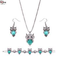 Wholesale Tibetan Owl Necklace - NFS Brand Design Owl Jewelry Set Tibetan Vintage Silver Blue Stone Pendant Owl Necklace Earring Bracelet Set