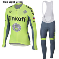 Wholesale Bicycle Light China - 2016 Tinkoff saxo bank cycling jerseys bicycle bike clothing long sleeve bib sets bicycle mtb sport cycling clothes China Fluo light green