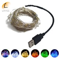 100PCS / losts 5M Bateria USB Powered LED String Light Silver Wire Fair Lights Decoração Strip Lamp for Party Wedding Christmas
