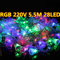 Wholesale Bell Connectors - Hot 5m 28 LEDs waterproof Garland LED Christmas Small bell string lights with 220v EU connector party colourful lamp Holiday lighting