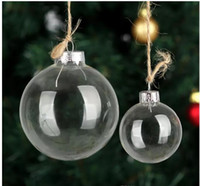 Wholesale plastic christmas ornament balls - Christmas Tree Glass Balls Ornament Christmas Decoration 80mm clear balls Xmas party supplies hanging Baubles Balls