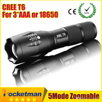 Wholesale Ultrafire Cree Led - High Power CREE XML-T6 5 Modes 3800 Lumens LED Flashlight Waterproof Zoomable Torch lights for 3xAAA or 1x18650 battery