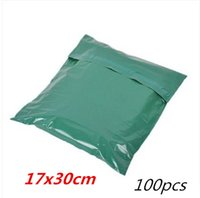 Wholesale Plastic Postage - 100pcs 17*30cm green Poly Mailer Plastic Shipping Mailing Bag Envelopes Polybags Strong Plastic Seal Postage Bags Free Shipping