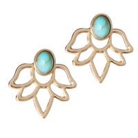 ingrosso raccordo in pietra di gemma-Luxury coreano moda oro argento orecchini di loto gemma blu pietra orecchini per le donne da sposa doppio lato polsino dell'orecchio