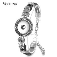 Wholesale Genuine Crystal Bracelets - VOCHENG NOOSA Bracelet Ginger Snap Jewelry Genuine Leather 18mm 4 Styles Vintage Alloy Metal Inlaid Crystal with Lobster Clasp NN-530
