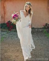 gold custom made wedding dress prices - 2017 New Bohemian Full Lace Mermaid Wedding Dresses Long Sleeves V Neck Backless Sweep Train Charming White Beach Country Bridal Gowns Cheap