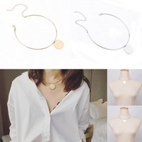 Wholesale Silver Hoop Choker - Sexy Womens Ladies Gold Silver Tone Circle Hoop Choker Collar Necklace Round Coin Pendant Charms Jewelry