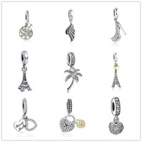 Wholesale Glass Eiffel Towers - 925 sterling silver loose beads pandora charms life tree angle wings Eiffel Tower beads diy bracelets Europe and America fashion jewelry