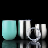 Wholesale Wholesale Boxed Wine - Free Shipping 9oz Stemless Egg Cup Could Keep Cold Colorful Stainless Steel Wine Glass Mugs with Retail Box SC001