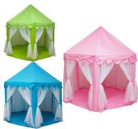 kapalı ev ışıkları toptan satış-Çocuklar Çadır Oynamak Prens ve Prenses Parti Çadır Çocuk Kapalı Açık çadır Oyun Evi Üç Renk ile 1 M LED Işık