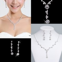 Wholesale Necklaces Ball Silver - Newest Bridal Jewelry Crystal Rhinestones Bride Prom Bridesmaid Wedding Jewellery Sets Necklace Drop Earrings Bridal Accessories 15049