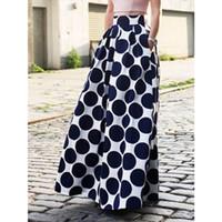 jupe maxi blanche achat en gros de-Femmes Blanc Contraste Polka Dot Imprimer Maxi Jupe 2016 Printemps Nouveau Bleu Point Taille Haute A-ligne Longueur De Plancher Longue Jupe Plus La Taille