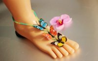 Wholesale Slave Wear - 2015 Spring barefoot sandals flower girl beach wedding wear slave anklets chain 3 color butterfly at random foot jewelry