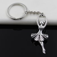 Wholesale Ballerina Keychain - Fashion diameter 30mm Key Ring Metal Key Chain Keychain Jewelry Antique Silver Plated ballet dancer ballerina 61*24mm Pendant