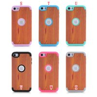 Wholesale Flower Hybrid Armor Hard PC Silicone Case in Shockproof Wave Elephant Heavy Duty Wooden Ring For Apple Ipod Touch Touch6 skin Luxury