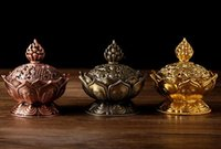 Wholesale Religious Easter Crafts - 7 cm Height Tibetan Lotus Incense Burner Alloy Bronze Mini Incense Burner Metal Craft Home Decor 3 Colors
