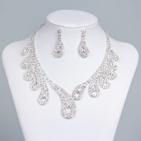 15042 Cheap Hot Sale Womens Bridal Wedding Pageant Rhinestone Necklace Earrings Conjuntos de jóias para Jóias nupcial de festa