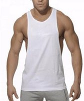 Wholesale Wholesale Plain Cotton Shirt - Plain Gym Tank Top Men Singlet Bodybuilding Stringers Sleeveless Clothes Gym Fitness Vest Muscle Shirt Clothing hight quality free shipping