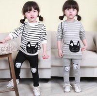 Wholesale Cat Long Sleeves Suit - 2016 Baby Girl Striped Clothing Sets Autumn Spring Brand Children Sport Suits long sleeve t shirt Pants Cartoon Cat Kids Twinsets