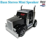 Wholesale Computer Truck - Wholesale- Mini Truck Car Portable Stereo Music Speaker USB TF FM For MP3 iPhone Tablet PC Sound Box speakers mp3 player ribbon tweeter