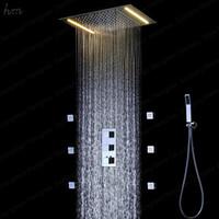 chorros de ducha de masaje corporal al por mayor-Juego completo de grifos de ducha 360 * 500 mm Techo Ducha de lluvia Termostático Mezclador de ducha de 3 vías, Masaje Body Jets Spray