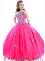 Wholesale children dresses size 14 - 2016 Cheap Girls Pageant Dresses For Teens Lace Appliqued Beads O Neck Long Floor Length Ball Gown Size 13 Party Children Flower Girl Gowns