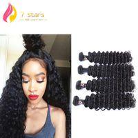Wholesale 4pc Deep Wave - Brazilian Peruvian Indian Malaysian Mongolian 100% Unprocessed Hair Weave Virgin Human Hair Extensions 4PC LOT Deep Wave Double Weft