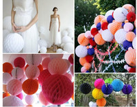 Wholesale Paper Lanterns Red - Honeycomb Balls 8 inch(20cm)10inch 6inch Tissue Paper Balls Honeycomb Ball Flower Lantern Hanging Decoration For Home Party Decor PH02