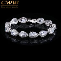 Wholesale Silver Chain Sellers - Wholesale-Best Seller Of Woman 2016 Silver Plated Rhinestone CZ Diamond Bracelets Bridal Wedding Jewelry Gift CB135
